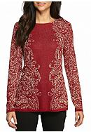 Ruby Rd Cozy Up Paisley Tunic Sweater