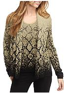 Ruby Rd Cozy Up Ombre Snake Cardigan