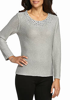 Ruby Rd Cozy Up Embellished Scoop Sweater