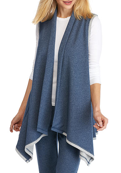 Ruby Rd MH Athleisure Sporty Shawl Collar Terry Vest