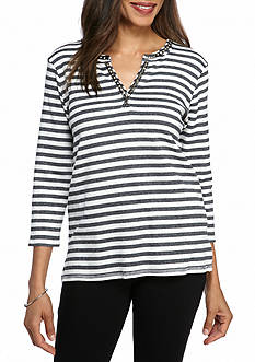 Ruby Rd Sporty Chic Embedded Stripe Thermal Top