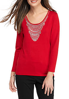 Ruby Rd Long Sleeve Scoop Neck Top