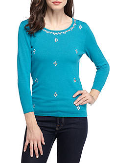Ruby Rd Long Sleeve Scoopneck Snowflake Embellished Top