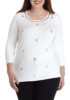Ruby Rd Plus Size Key Items Embellished Allover Sweater