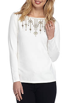 Ruby Rd Key Items Embellished Boatneck Sweater