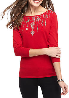 Ruby Rd Key Items Embellished Boatneck Sweater