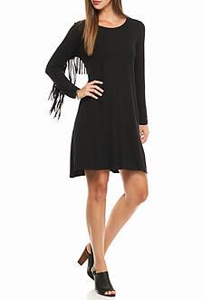 Ruby Rd Modern Knit Flare Fringe Dress