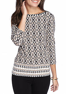 Ruby Rd Must Haves Trellis Border Print Knit Top