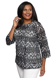 Ruby Rd Plus Size Must Haves Sheer Striped Top