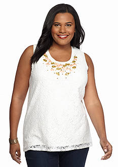 Ruby Rd Plus Size Precious Cargo Embellished Lace Shell