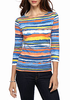Ruby Rd Must-Have Embellished Border Print Knit Top