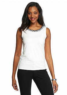Ruby Rd The Bright Stuff Embellished Neckline Tank
