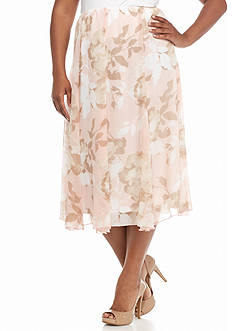 Ruby Rd Plus Size Blush Crush Long Floral Chiffon Skirt