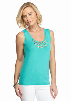 Ruby Rd Oasis Sleeveless Embellished Neck Sweater