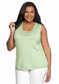 Ruby Rd Plus Size Oasis Sleeveless Embellished Neck Shell