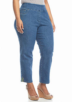 Ruby Rd Plus Size New Bohemian Pull On Denim Cropped Pants