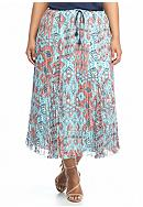 Ruby Rd Plus Size New Bohemian Broomstick Skirt