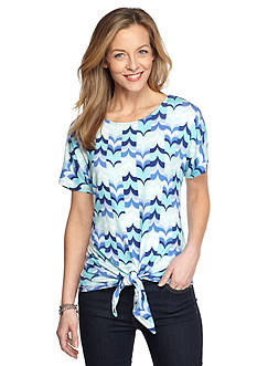 Ruby Rd Petite Must Haves Printed Tie Front Top
