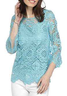 Ruby Rd Ti Amo Medallion Lace Top
