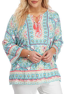 Ruby Rd Plus Size Ti Amo 3/4 Bell-Sleeve Printed Top