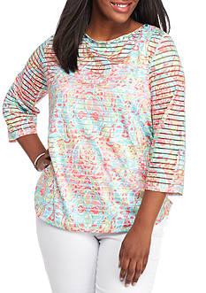 Ruby Rd Plus Ti Amo Paisley Print Stripe Knit Top