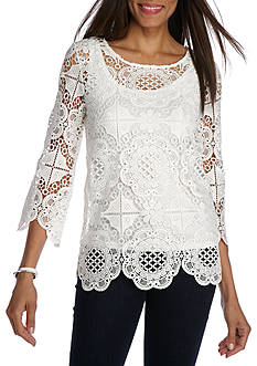 Ruby Rd Petite Ti Amo Lace Tunic Scallop Sleeve Top
