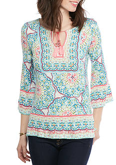 Ruby Rd Petite Ti Amo Bell Sleeve Print Three Quarter Top