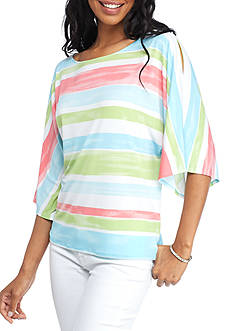 Ruby Rd Petite Ti Amo Stripe Cold Shoulder Dolman Top