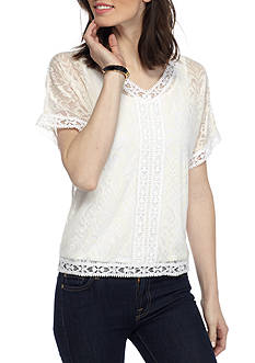 Ruby Rd Petite Ti Amo Ikat Burnout Top Dolman Sleeve