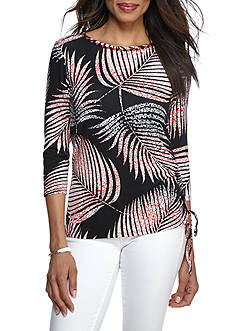 Ruby Rd Bold Move Boat Neck Palm Side Ruched Top
