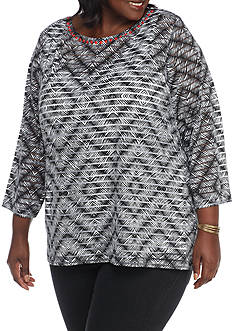 Ruby Rd Plus Bold Move Diamond Overlay Knit
