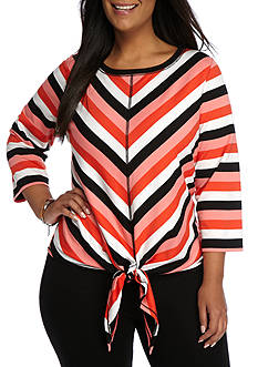 Ruby Rd Bold Move Stripe Front Tie French Terry Top