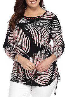 Ruby Rd Plus Bold Move Palm Print Top