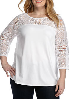 Ruby Rd Plus Bold Move Geometric Lace Toke Three Quarter Length Sleeve Knit Top