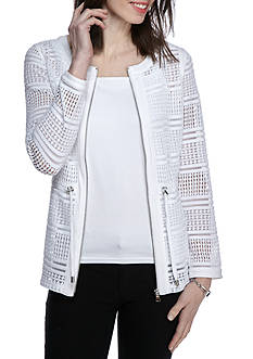 Ruby Rd Petite Bold Move Zip Front Open Lace Jacket