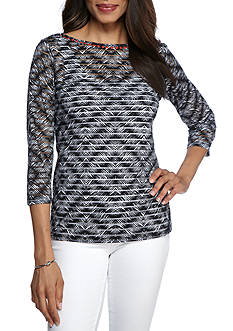 Ruby Rd Bold Move Diamond Overlay Knit Three Quarter Length Sleeve Top