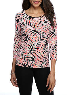 Ruby Rd Petite Bold Move Palm Puff Print Three Quarter Top