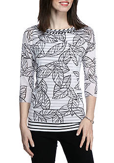 Ruby Rd Petite Bold Move Embellished Mesh Overlay Knit Top