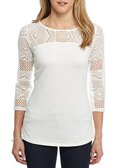 Ruby Rd Petite Bold Move Geometric Lace Toke Three Quarter Length Sleeve Knit Top