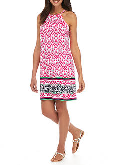 Ruby Rd Printed Halter Neck Border Dress