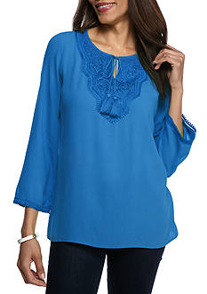 Ruby Rd Geo Graphic Lace Neck Tunic
