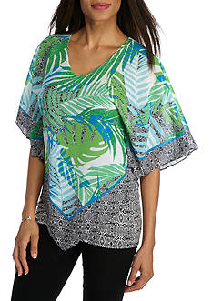 Ruby Rd Geo Graphic Tribal Scarf Print Woven Top