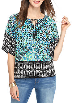 Ruby Rd Geo Graphic Border Print Peasant Top