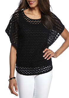 Ruby Rd Geo Graphic Wave Lace Knit Top