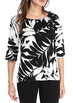 Ruby Rd Geo Graphic Palm Print Peasant Top
