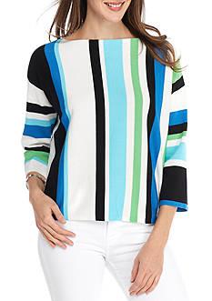 Ruby Rd Geo Graphic Stripe Sweater