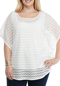 Ruby Rd Plus Geo Graphic Butterfly Lace Knit Top