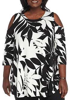 Ruby Rd Plus Geo Graphic Rayon Leaf Print Cold Shoulder Top