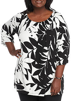 Ruby Rd Plus Geo Graphic Palm Print Peasant Top