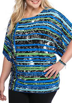 Ruby Rd Plus Geo Graphic Kimono Stripe Palm Knit